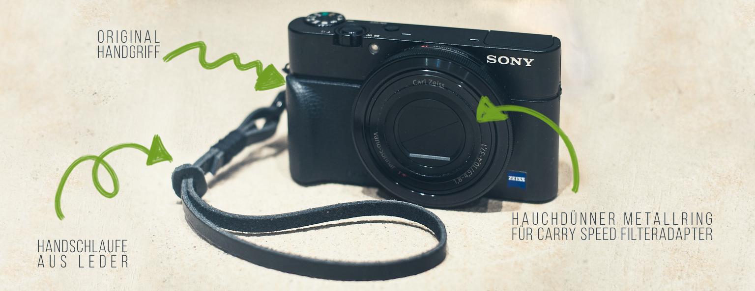 Sony RX100 mit selbstgemachter Handschlaufe