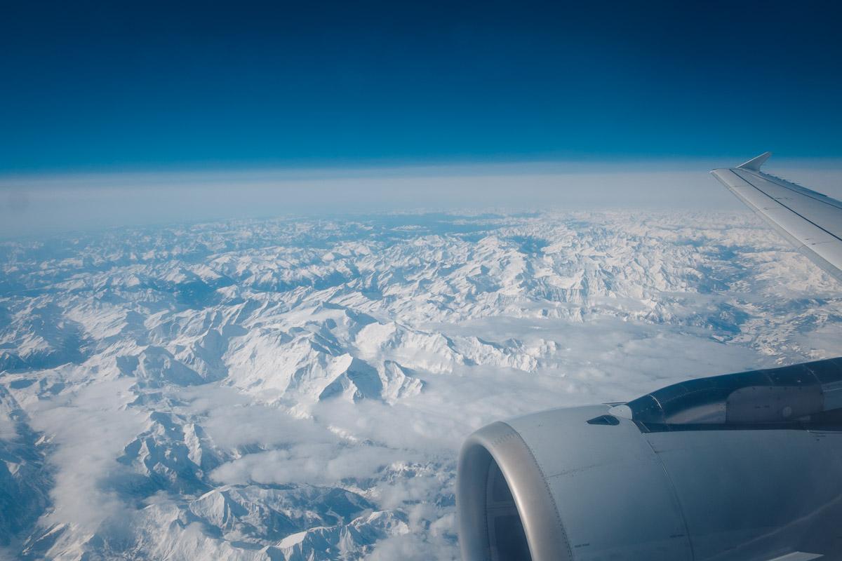 Die Alpen aus einem Airbus 320 aus gesehen