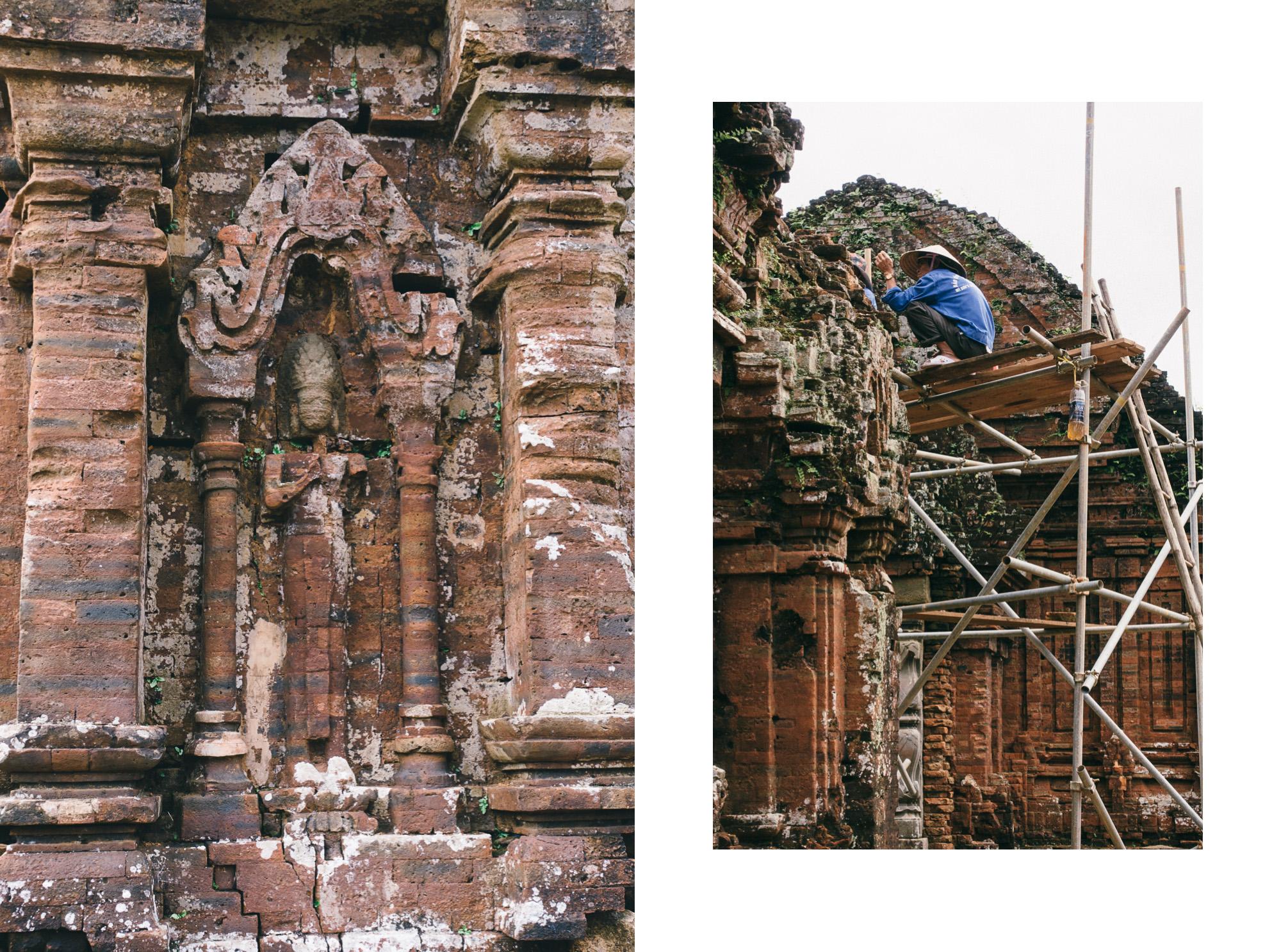 Ein Arbeiter restauriert die Ruinen von My Son in Vietnam