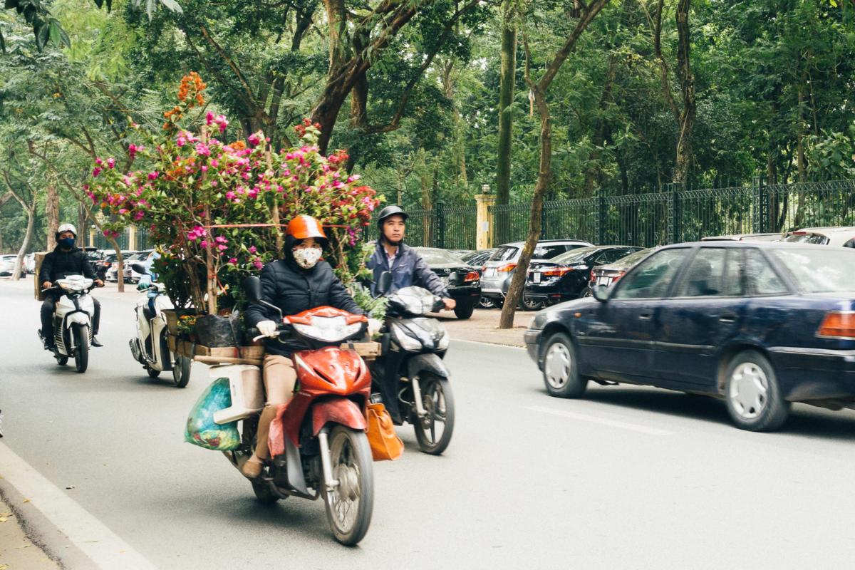 Vietnam Hanoi Blumen Verkäuferin auf Roller