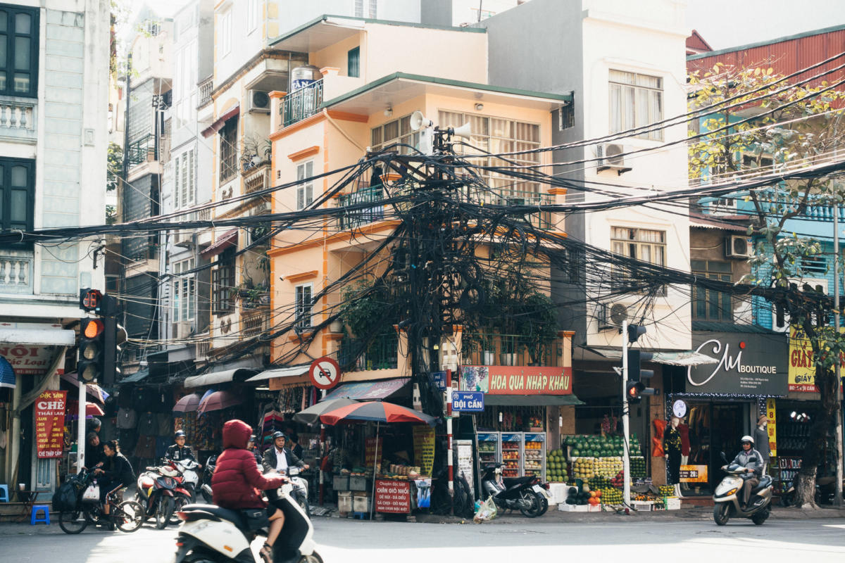 Vietnam Hanoi Kabelbaum Kabelsalat